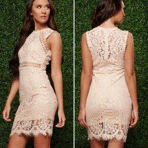Main Strip Blush Pink Lace Mini Dress Size L